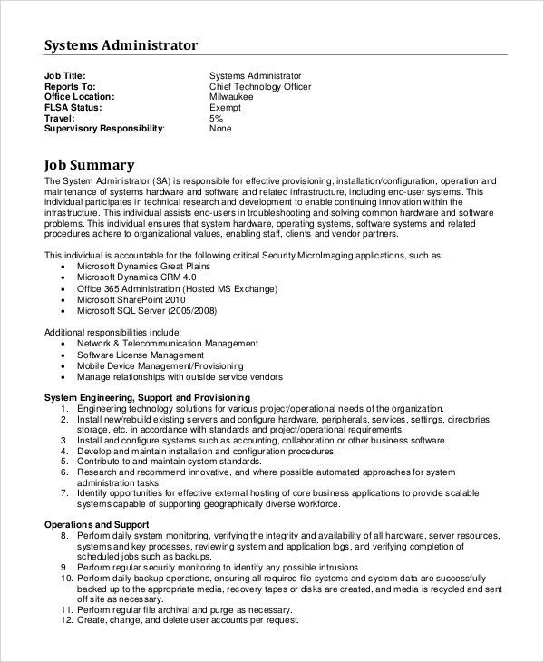 Sample System Administrator Job Description - 10+ Examples in PDF ...