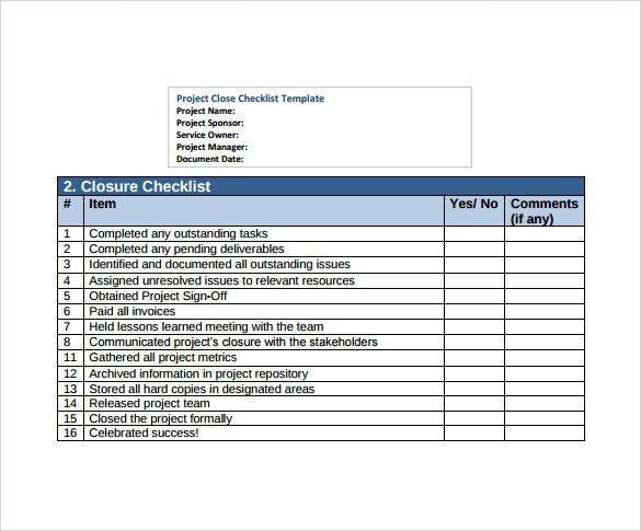 Sample Project Checklist - 8+ Examples & Format