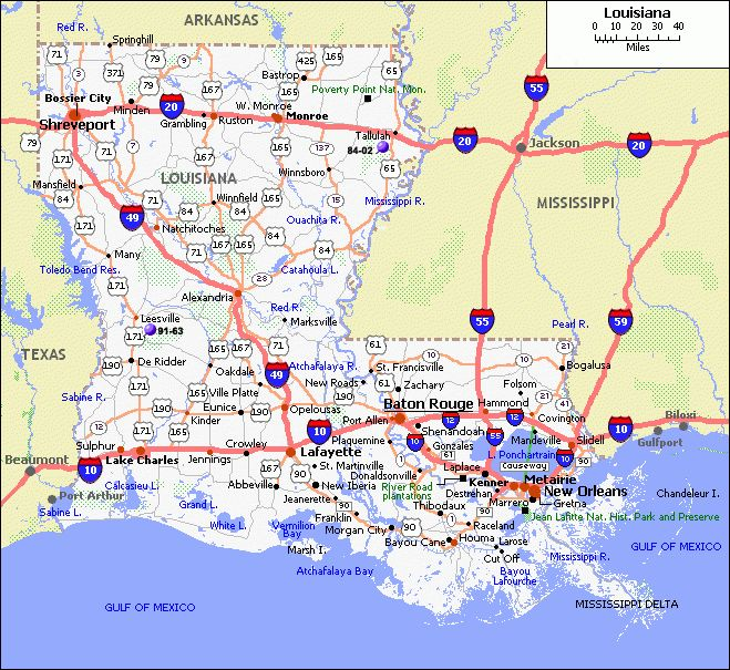 Blank Louisiana Physical Map