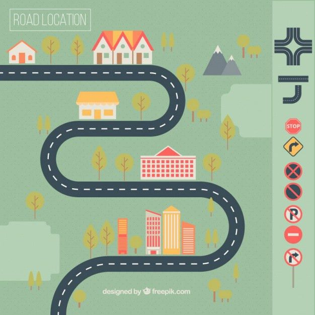 Road map with houses and traffic signs Vector | Free Download