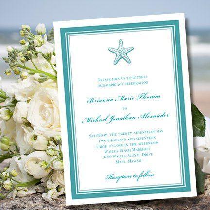 Wedding Invitation Template Beach Starfish