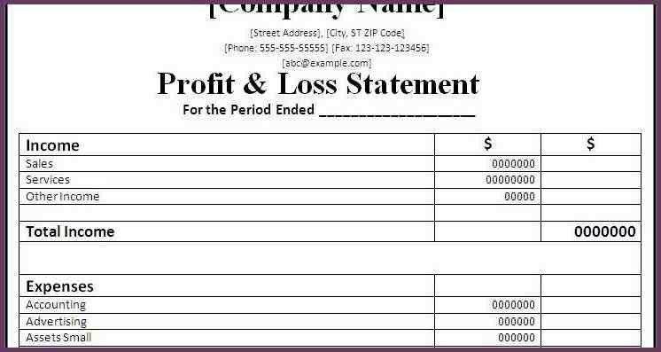 SAMPLE PROFIT AND LOSS STATEMENT | cvsampleform.com