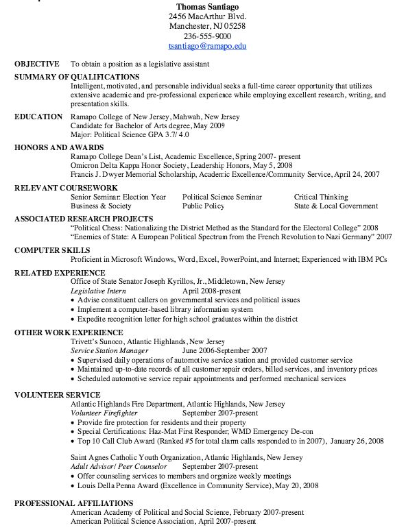 Sample Of Legislative Assistant Resume - http://resumesdesign.com ...