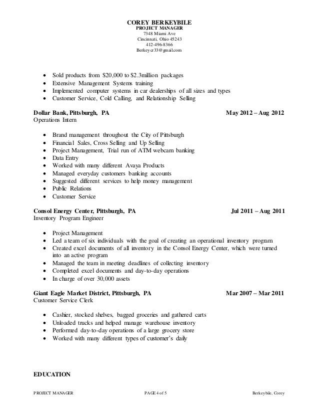 Corey Berkeybile -PMO Project Manager Resume
