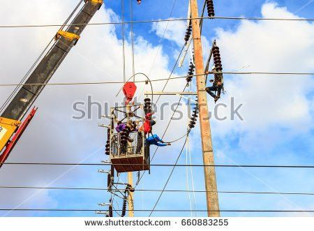 Electric Eliminates Accident Power Line Pole Stock Photo 98540048 ...