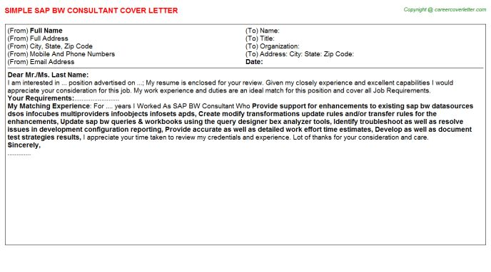 Sap Bw Consultant Cover Letter