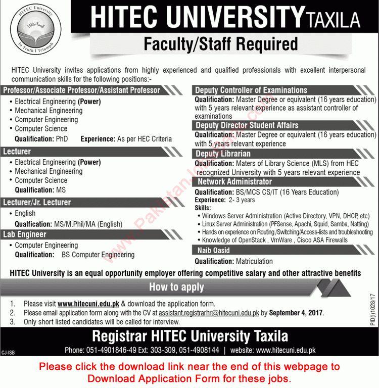 HITEC University Taxila Jobs August 2017 Application Form Teaching ...