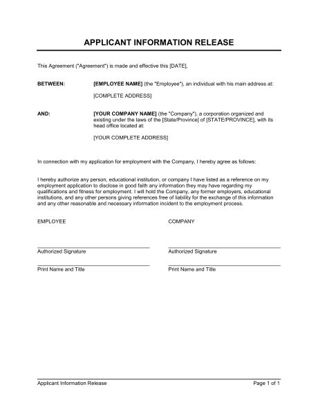 Information Release Authorization - Template & Sample Form ...