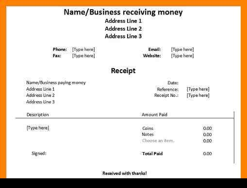4+ payment received receipt format | day care receipts