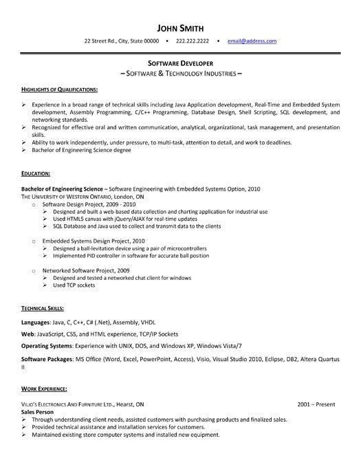 Stunning Software Engineer Resume Template Download 48 About ...