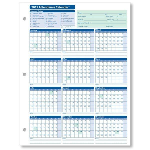 Printable Employee Attendance Calendar Template | Attendance ...
