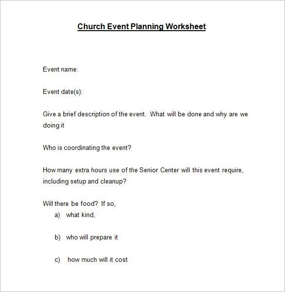 5+ Event Planning Worksheet Templates – Free Word Documents ...