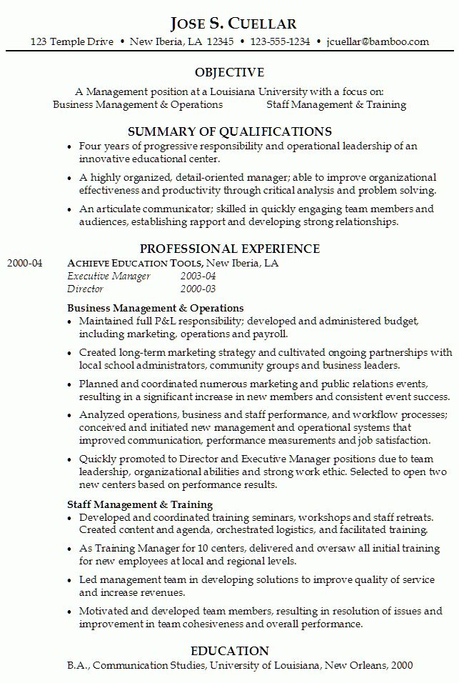 Resume for Operations and Staff Management - Susan Ireland Resumes