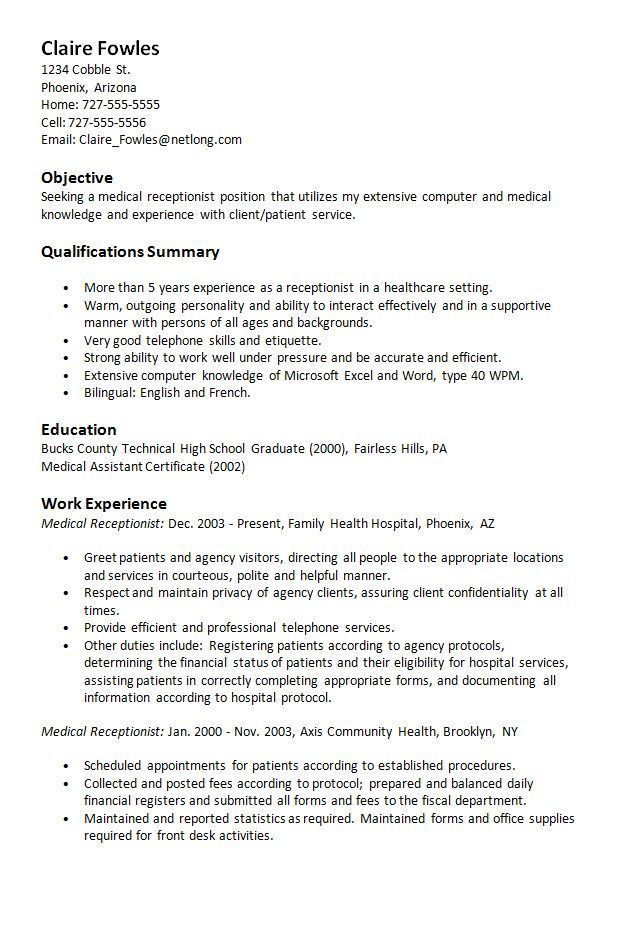 Receptionist Resume. Yours Sincerely Useful Materials For Writing ...