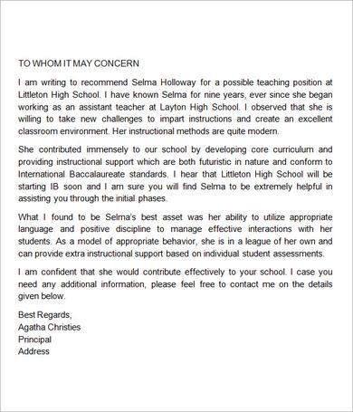 Sample Letter of Recommendation for Teacher - 18+ Documents in ...