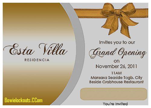 Sample Invitation Card For Inauguration | PaperInvite