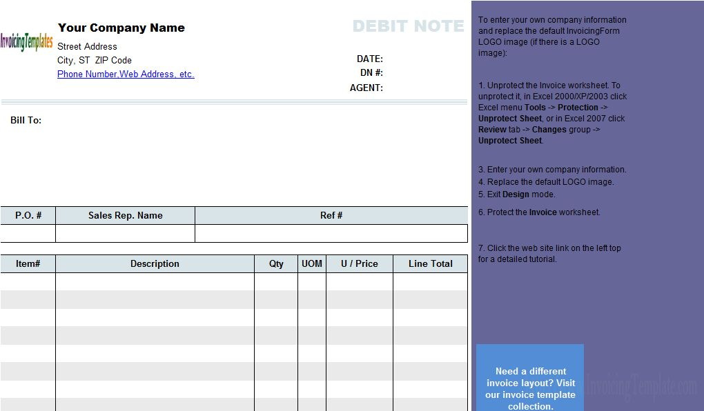 Debit Note Template - Free Invoice Templates for Excel / PDF