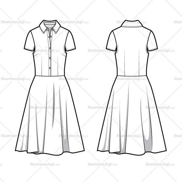 Full Shirt Dress Flat Template Flat Template – Illustrator Stuff