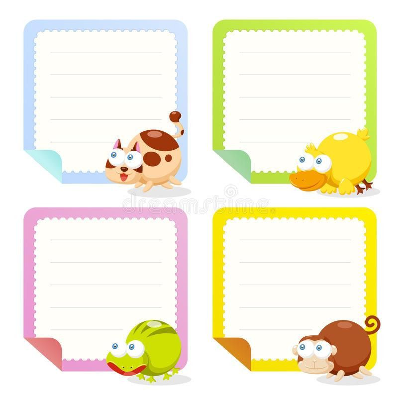 Cute Animal Note Papers Collection Royalty Free Stock Photography ...