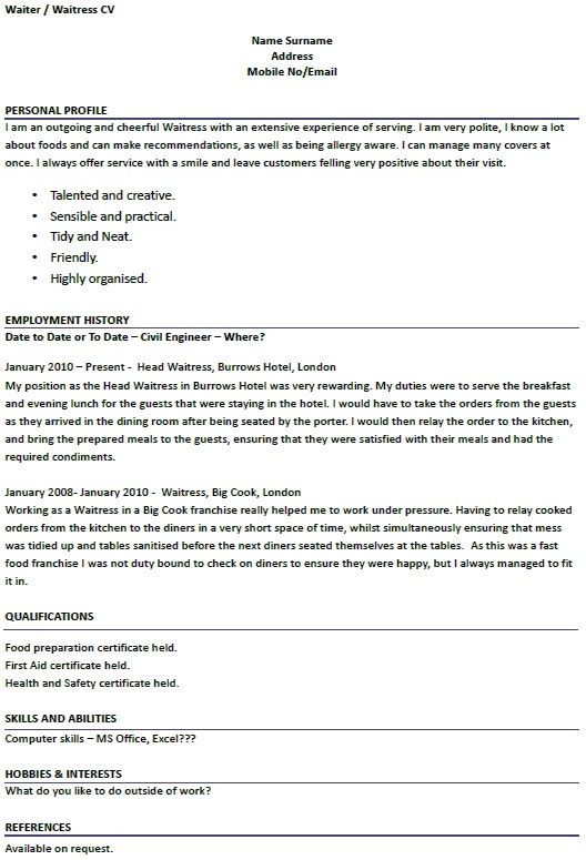 Waitress Resume Sample | jennywashere.com