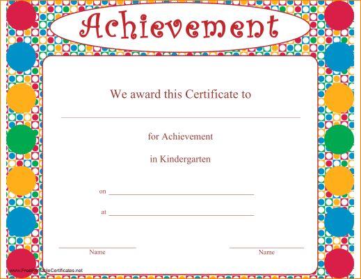 4+ kindergarten certificates | Outline Templates