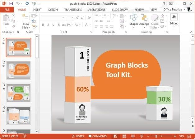 Display Graphs As Infographics With Graph Blocks Template For ...