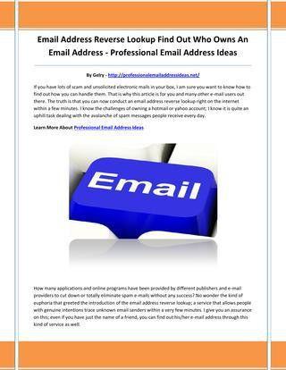 Professional email address ideas by mmkiujn - issuu