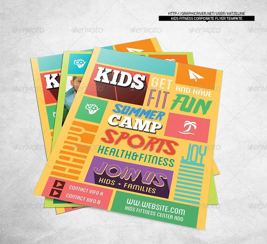 Kids Fitness Camp Flyer Template by katzeline | GraphicRiver