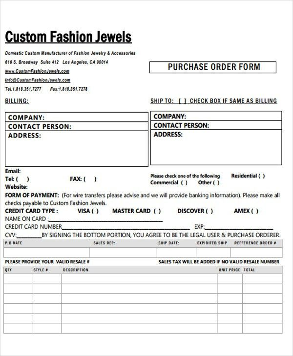 Fashion Order Form - 5+ Free Word, PDF Format Download | Free ...