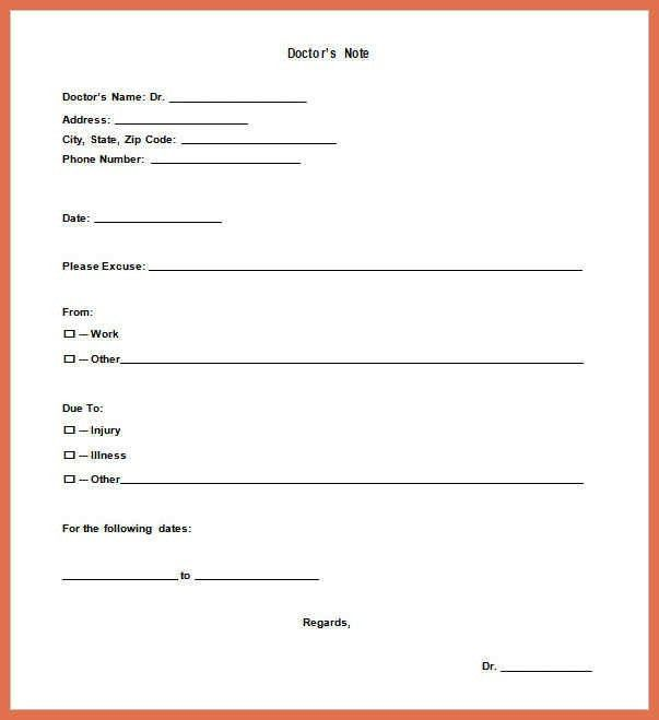 Note Template. 7+ Fake Doctors Note Template | Resign Template ...
