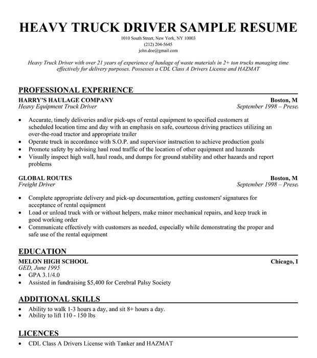 Download Truck Driver Resume | haadyaooverbayresort.com