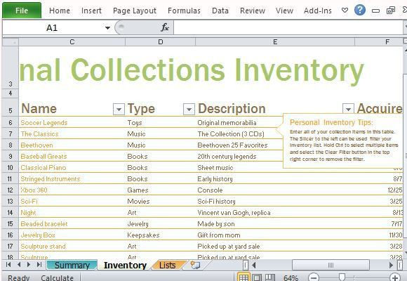 inventory list excel