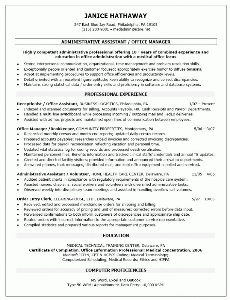 Marvellous Inspiration Ideas Sample Office Manager Resume 15 Front ...