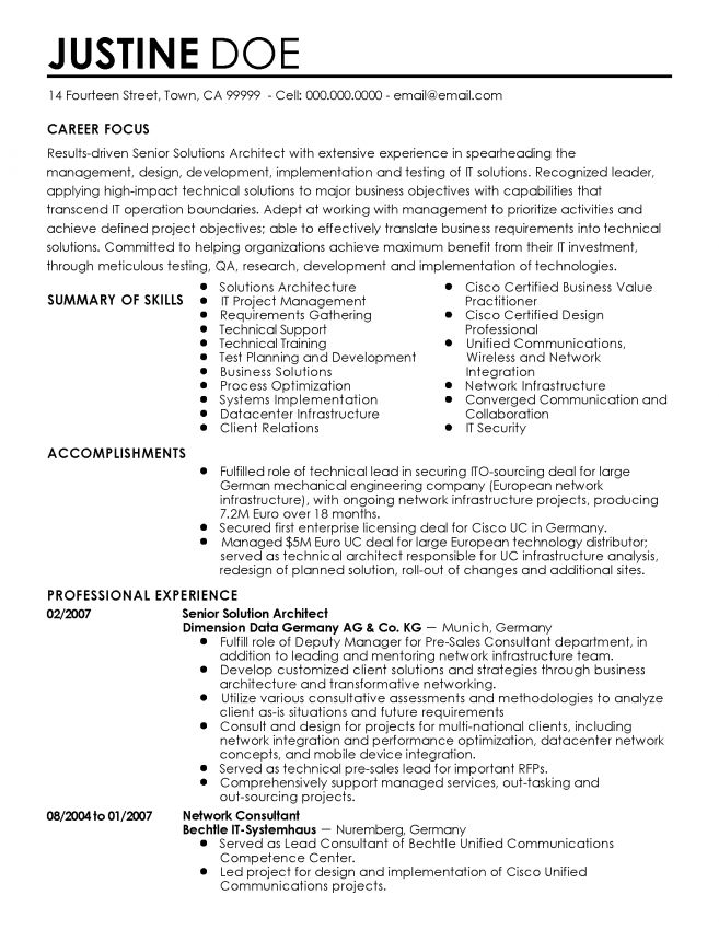 13 Sample Resume For Solution Architect Resume software architect ...