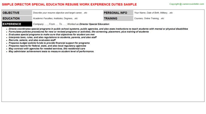 Director Special Education Resume Sample