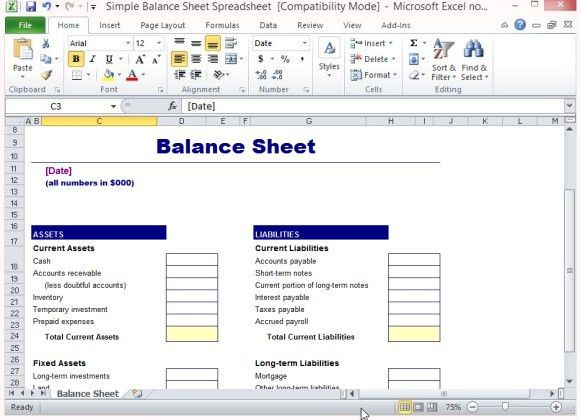 excel balance sheet template free download - Template
