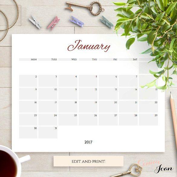 2017 Printable Calendar Word | blank calendar printable