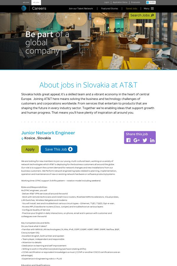Junior Network Engineer job at AT&T in Košice, Slovakia | Tapwage ...