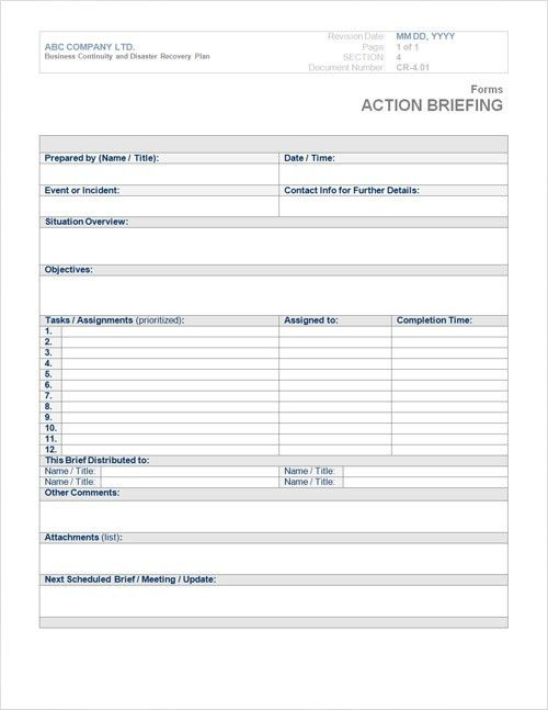Business Continuity Plan Template Form | Steamwire Media