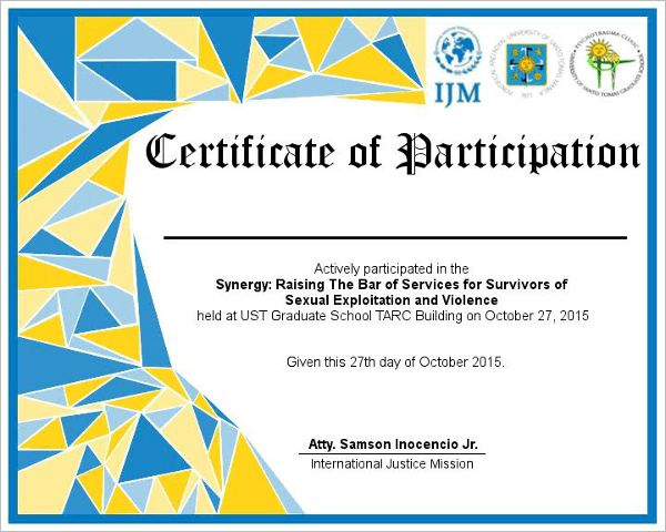 model certificate of participation - Template