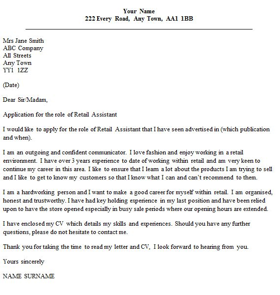 Crafty Inspiration Cover Letter For Retail 15 Assistant Example ...