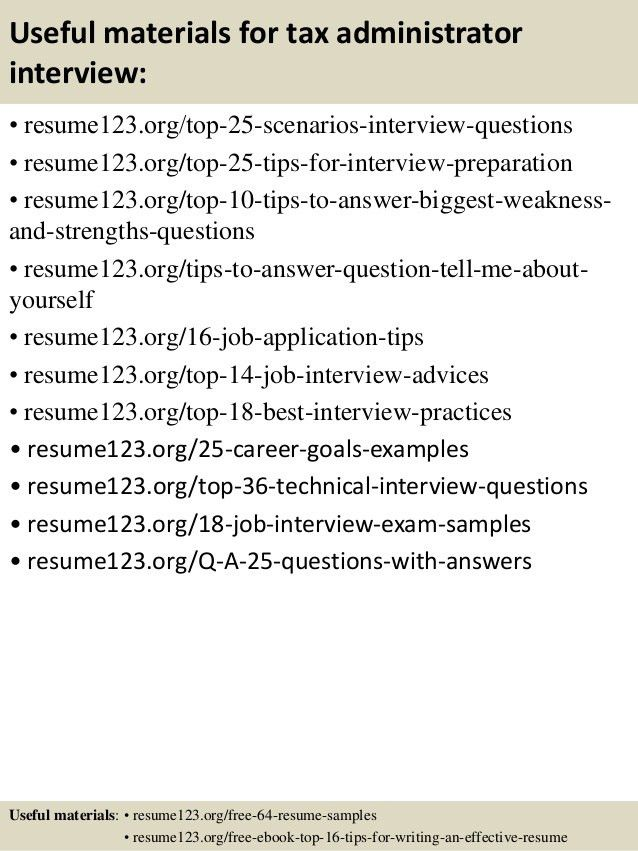Top 8 tax administrator resume samples