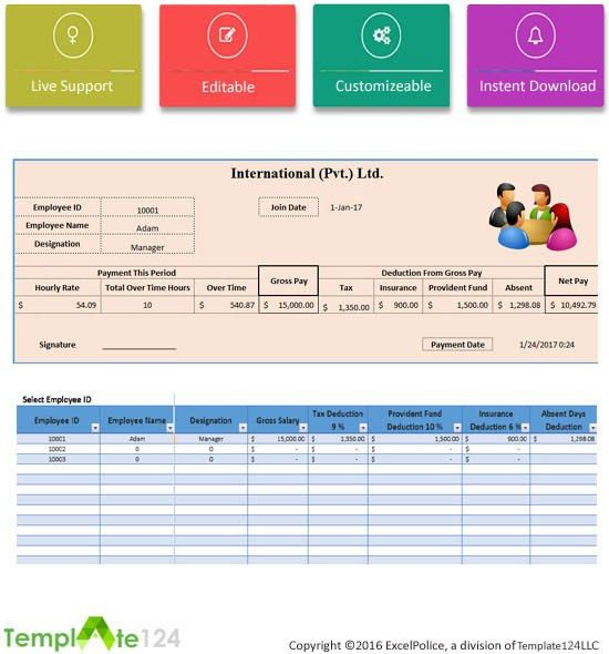 Printable Employee Payroll Template Excel 2017 | Template124