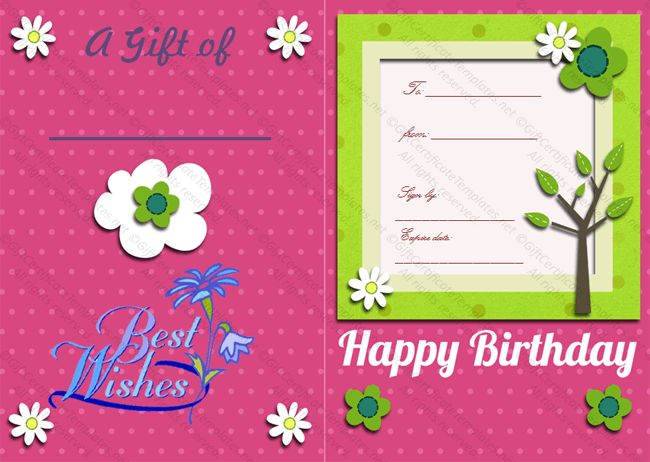 Bi Fold Birthday Gift Certificate Template - Gift Certificates