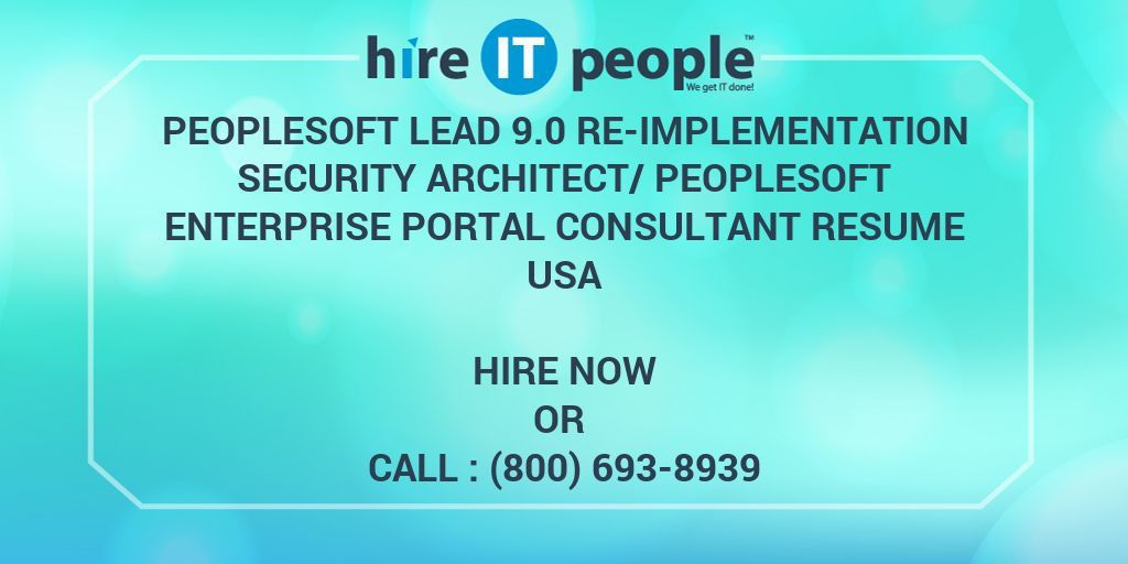Peoplesoft Lead 9.0 Re-Implementation Security Architect ...