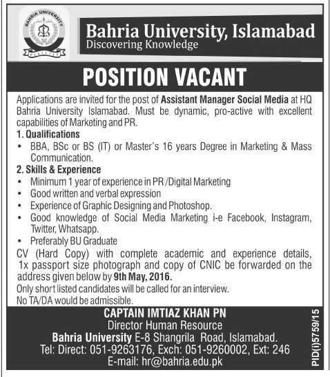 Assistant Manager Jobs in Bahria University Islamabad - Jobs ...
