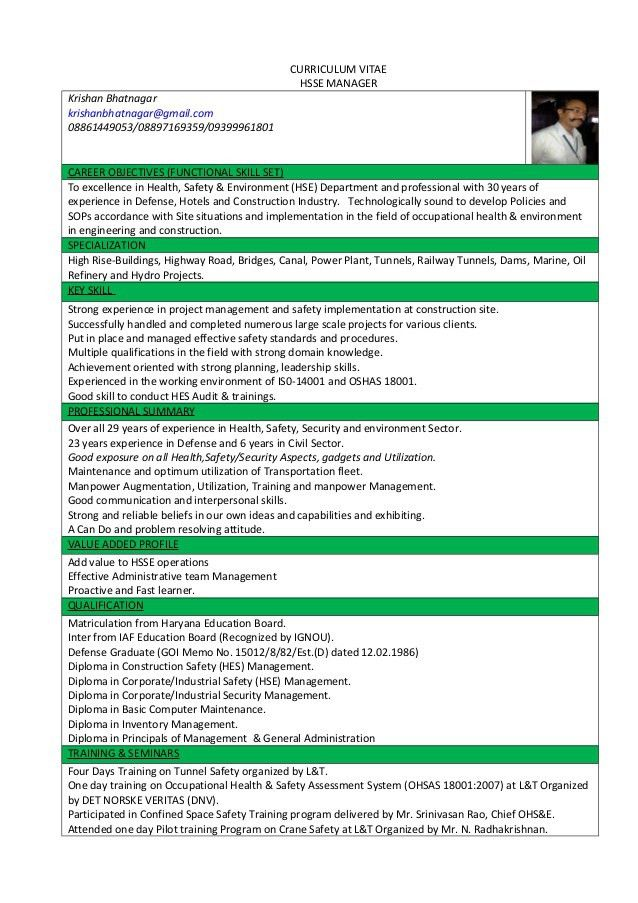regional hse manager resume ehs resume examples ehs manager