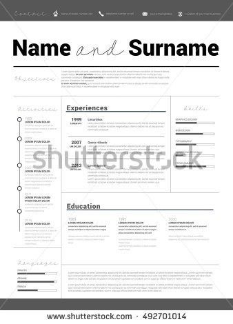 Resume Minimalist Cv Resume Template Simple Stock Vector 610962575 ...