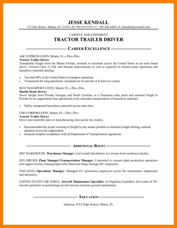 4+ sample truck driver resume | sales resumed