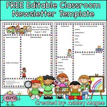 Free Editable Teacher Newsletter Template by Mrs Magee | TpT